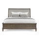 Bernhardt Belgian Oak King Upholstered Sleigh Bed in French Truffle