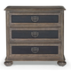 Bernhardt Belgian Oak Three Drawer Nightstand with Inset Metal Panels in French Truffle 337-232M
