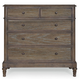 Bernhardt Belgian Oak Five Drawer Chest with Rustic Round Knobs in French Truffle 337-034