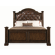 Bernhardt Normandie Manor King Upholstered Panel Bed with Nailhead Trim Accent in Caffe Brown