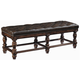 Bernhardt Normandie Manor Upholstered Leather Bench with Button Tufting in Caffe Brown 317-508