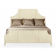 Bernhardt Salon King Panel Bed with Metal Inlay Grid Pattern in Alabaster