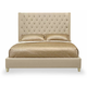 Bernhardt Salon Queen Upholstered Panel Bed with Diamond Button Tufting in Alabaster