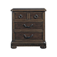 Bernhardt Vintage Patina Three Drawer Nightstand with Burnished Brass Hardware in Molasses 322-229B