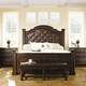 Bernhardt Normandie Manor Upholstered Panel Bedroom Set with Nailhead Trim Accent in Caffe Brown