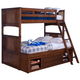 New Classic Logan Youth Twin Over Twin Bunk Bed with Storage in Spice 05-100-598B-T