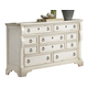 American Woodcrafters Heirloom Collection Triple Dresser in Antique White 2910-210