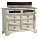American Woodcrafters Heirloom Collection Entertainment Chest in Antique White 2910-232