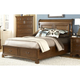 American Woodcrafters Nantucket Queen Sleigh Bed with Storage Footboard in Honey Brown 1900-50SLES