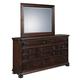 Samuel Lawrence Furniture Chandler Drawer Dresser and MIrror Set  in Chestnut 8540-010-030