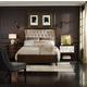Hooker Furniture Palisade Upholstered Shelter Bedroom Set in Taupe