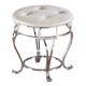 Zarollina Upholstered Stool in Shiny Silver B182-01