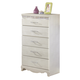 Zarollina 5-Drawer Chest in Silver Pearl Faux Gator B182-46