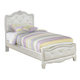 Zarollina Twin Upholstered Bed in Shiny Silver Pearl Faux Gator CLEARANCE