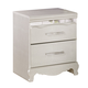 Zarollina Two Drawer Nightstand in Shiny Silver Pearl Faux Gator B182-92 CLEARANCE