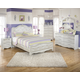 Zarollina 4pc Upholstered Bedroom Set in Silver Pearl Faux Gator