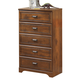 Barchan Five Drawer Chest in Medium Brown B228-46