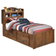 Barchan Twin Bookcase Storage Bed in Medium Brown