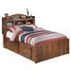 Barchan Full Bookcase Storage Bed in Medium Brown CLEARANCE