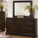 All-American Hanover Drawer Dresser with Mirror in Dark Cherry