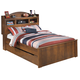 Barchan Full Bookcase Panel Bed w/Underbed Trundle in Medium Brown