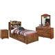 Barchan 4pc Bookcase Storage Bedroom Set in Medium Brown