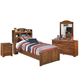 Barchan 4pc Bookcase Panel Bedroom Set in Medium Brown