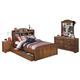 Barchan 4pc Bookcase Panel Bedroom Set w/Underbed Trundle in Medium Brown