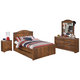 Barchan 4pc Panel Bedroom Set w/Underbed Trundle in Medium Brown