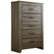 Zelen Five Drawer Chest in Warm Gray B248-46