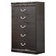 Vachel Five Drawer Chest in Dark Brown B264-46