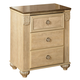 Saveaha Three Drawer Nightstand in Light Beige B346-90