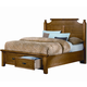 All-American Woodlands Queen Broomhandle Poster with Storage Bed in Oak