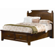 All-American Woodlands Queen Broomhandle Poster with Storage Bed in Pine