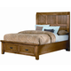 All-American Timber Mill King Wood Timber Panel with Storage Bed in Oak