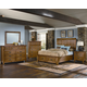 All-American Timber Mill 4-Piece Wood Timber Panel Bedroom Set in Oak