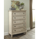 Demarlos Five Drawer Chest in Parchment White B693-46