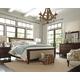 Hindell Park 4pc Upholstered Sleigh Bedroom Set in Dark Brown