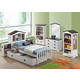 Acme Docila Twin Youth Bedroom Set with Hidden Nightstand & Trundle in White/Chocolate