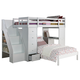 Acme Freya Loft Bed with Bookcase Ladder in White 37145