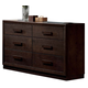 ACME Ishaan Six Drawer Dresser with Wooden Hardware in Dark Merlot 21495