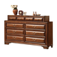ACME Konane Dresser with Curved Beveled Front Panels in Brown Cherry 20458