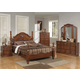 Acme Ponderosa Poster Bedroom Set with Carved Rosette on Headboard in Walnut