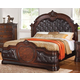 Acme Quenisha California King Panel Bed with Elaborate Details in Cherry/Dark Brown 20697EK