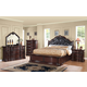 Acme Veradisia 4-Piece Storage Bed w/ Button Tufted Headboard in Dark Cherry
