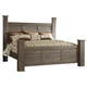 Juararo Contemporary King Poster Bed in Dark Brown