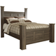 Juararo Contemporary Queen Poster Bed in Dark Brown