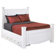 Weeki Contemporary King Poster Bed w/ Underbed Storage in Modern White