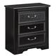 Cavallino Three Drawer Nightstand in Black B291-93
