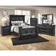 Cavallino 4pc Mansion Storage Bedroom Set in Black